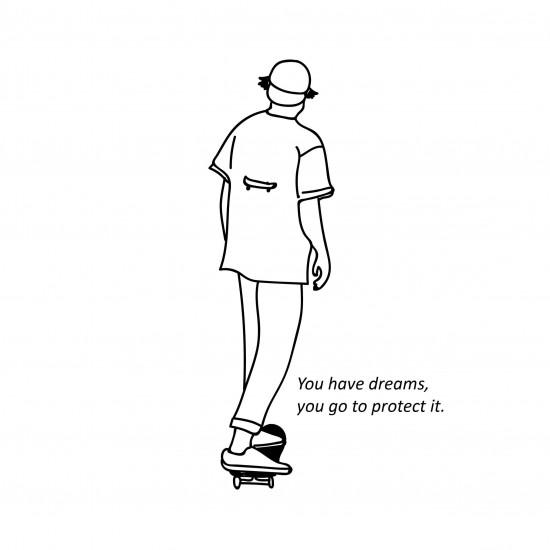 日牌  短袖印圖T  滑板boy