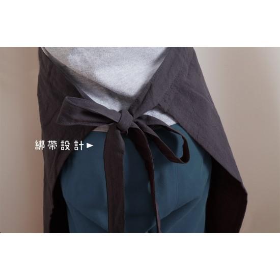 兒童款 洗棉麻中性款圍裙  深灰色