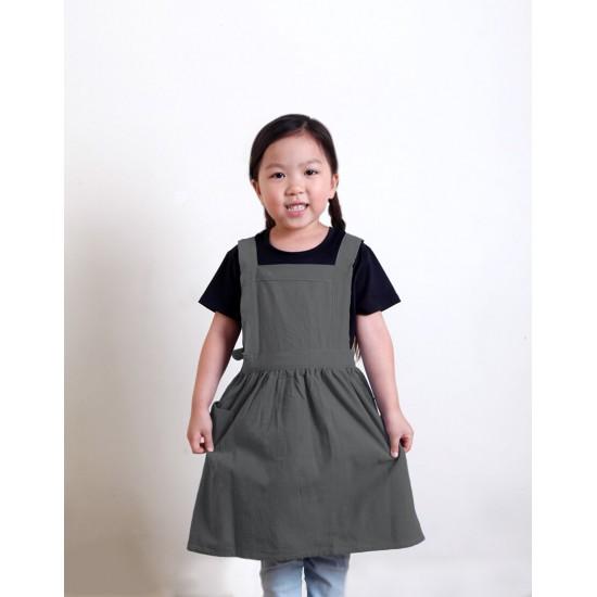 兒童款 水洗棉麻百摺裙款圍裙 M 雙色