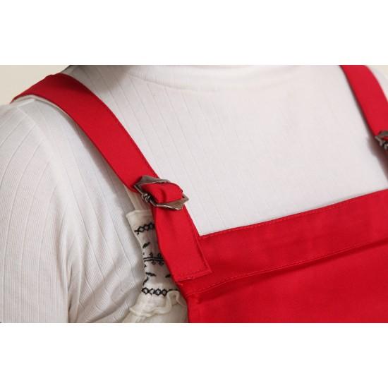 混棉布背帶式二口袋圍裙+雙扣可調  紅色