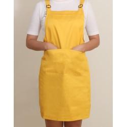 混棉布背帶式二口袋圍裙+雙扣可調 | 黃色