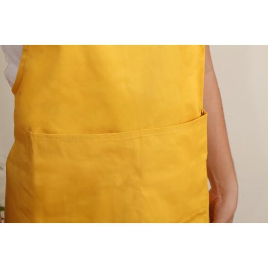混棉布背帶式二口袋圍裙+雙扣可調 - 黃色