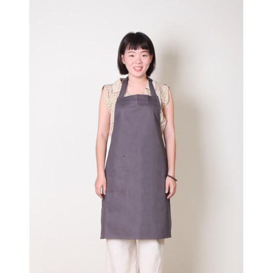 純棉單一口袋  繞頸式 灰色