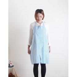 水洗棉麻簡約款圍裙| 煙藍