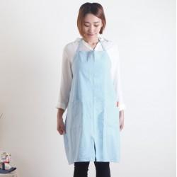 水洗棉麻簡約款圍裙 煙藍