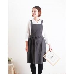 水洗棉麻百摺裙款圍裙 | 三色