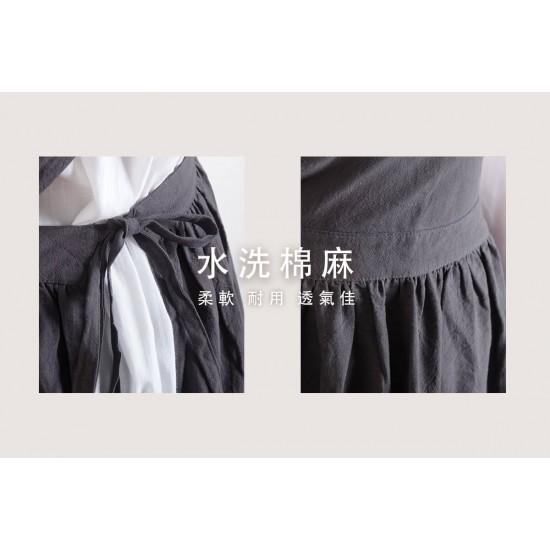 水洗棉麻百摺裙款圍裙  三色