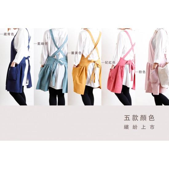 水洗棉麻背心式款圍裙 五色