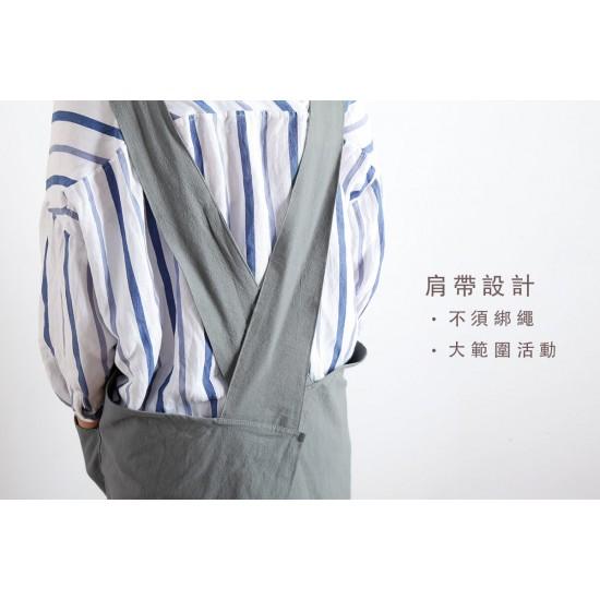 棉麻家居款寬肩帶圍裙  雙口袋 六色