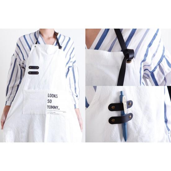 水洗棉麻PU可調帶圍裙  三色