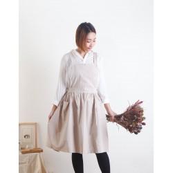 水洗棉麻百摺裙款圍裙|雙口袋 三色