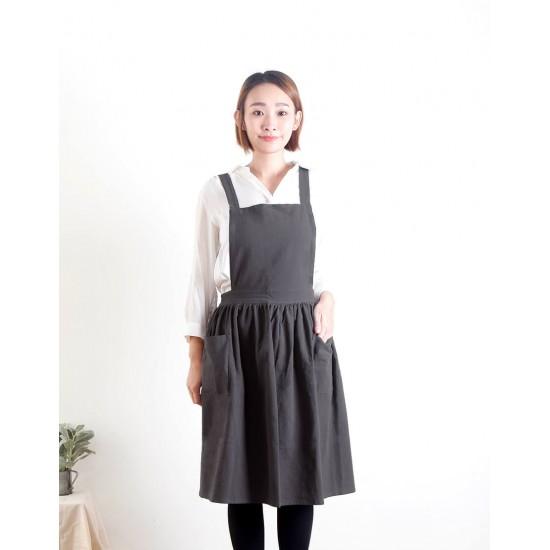 水洗棉麻百摺裙款圍裙 雙口袋 三色
