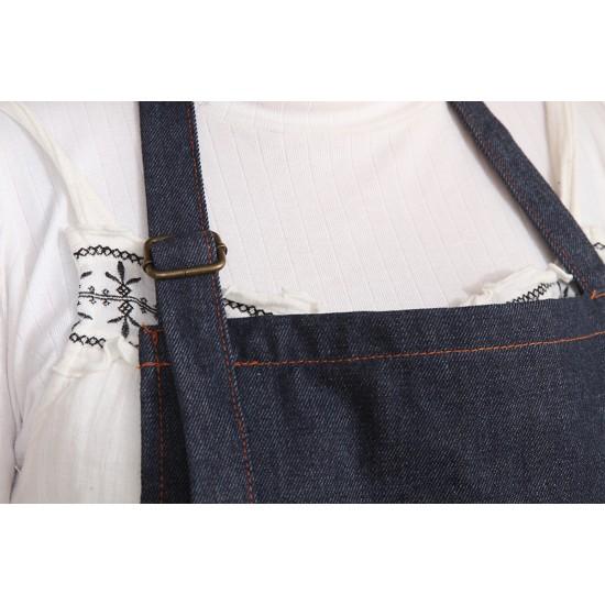 加厚深藍牛仔圍裙繞頸+扣
