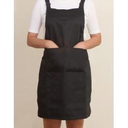 混棉布背帶式二口袋圍裙+雙扣可調 | 黑色