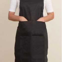 混棉布背帶式二口袋圍裙+雙扣可調  黑色