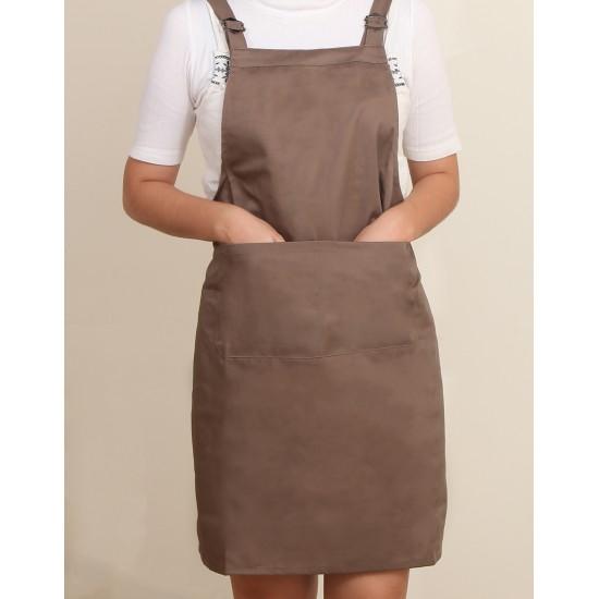 混棉布背帶式二口袋圍裙+雙扣可調  卡其色