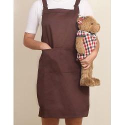 混棉布背帶式二口袋圍裙+雙扣可調 | 咖啡色
