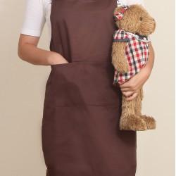 混棉布背帶式二口袋圍裙+雙扣可調  咖啡色