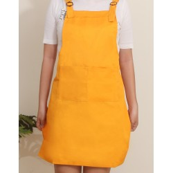 混棉布背帶式二口袋圍裙+雙扣可調 | 橘色