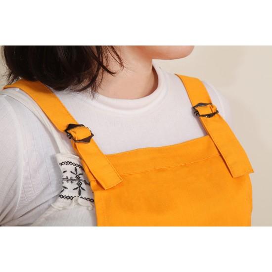 混棉布背帶式二口袋圍裙+雙扣可調  橘色