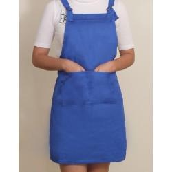 混棉布背帶式二口袋圍裙+雙扣可調 | 寶藍色
