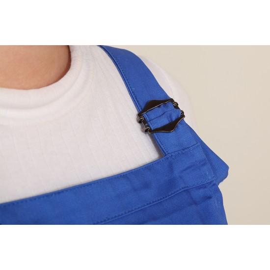 混棉布背帶式二口袋圍裙+雙扣可調 寶藍色