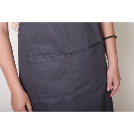 純棉三口袋  背帶式  灰色