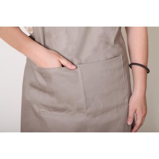 純棉三口袋  背帶式 卡其色