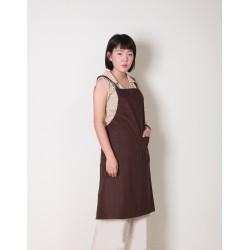 純棉雙口袋 | 背帶式 | 咖啡色