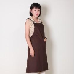 純棉雙口袋 背帶式  咖啡色