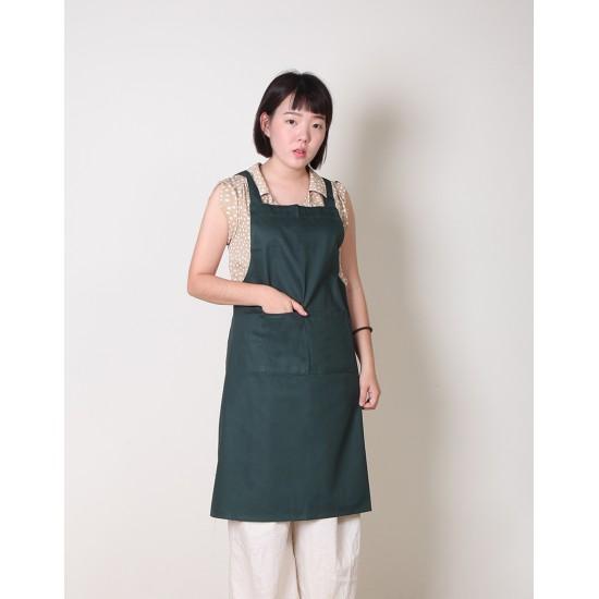 純棉雙口袋  背帶式  墨綠色