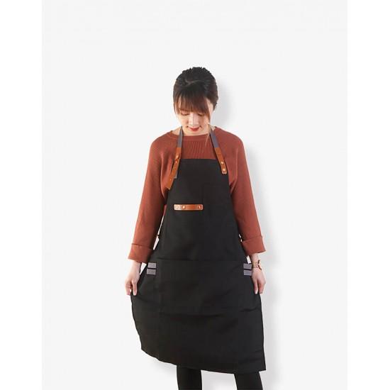 滌帆繞頸織帶皮件圍裙 黑色