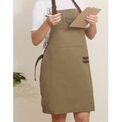 滌帆綠色繞頸可調式圍裙 | 拼咖啡色