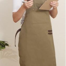 滌帆綠色繞頸可調式圍裙  拼咖啡色