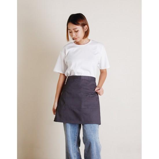 滌帆加厚斜紋半身圍裙 雙口袋 七色