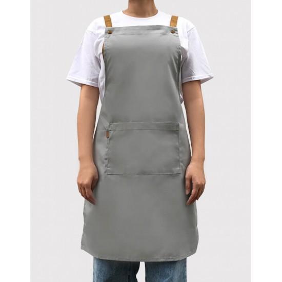 歐式滌棉帆布背帶式一口袋圍裙 - 4色