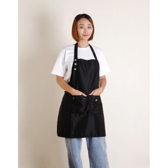 滌棉單扣繞頸式圍裙 三色