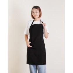 滌綸防水單扣繞頸式圍裙 | 黑色