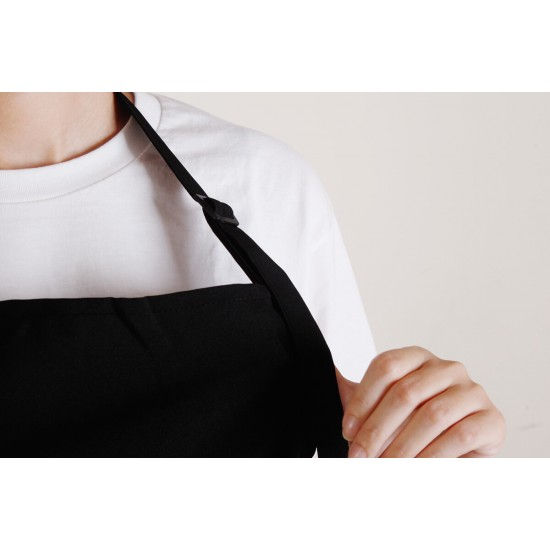 滌綸防水單扣繞頸式圍裙  黑色